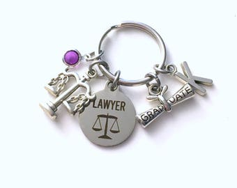 Graduation Gift for Lawyer Keychain, Law Student Key Chain, Grad Present Keyring women Initial Birthstone her passing the bar, judge scales