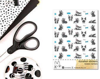 DONATION STICKERS - boston terrier - Planner Sticker