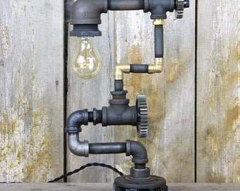 Industrial Table Lamp with Multi Color and Texture Finishes - Steampunk Desk Lamp #90