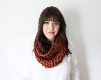 Knit Scarf Chunky Infinity Orange Cowl in *Spice* - The 'Sokoke' Chunky Knitted Cowl