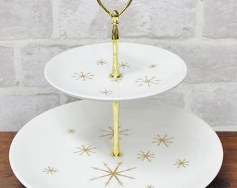 Star Glow  Mid Century Modern 2 tier serving stand, dinnerware plates and dishes,  Atomic Era decor
