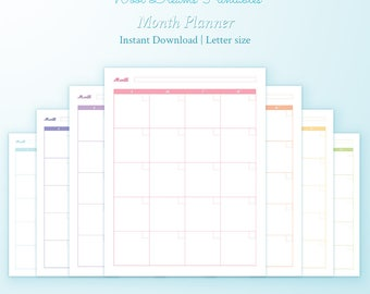 Letter month Planner inserts Erin Condren style, month on two pages, monthly inserts, monthly calendar, diy planner