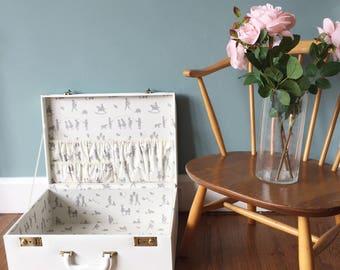 Large Memory Keepsake Box in Cream with nostalgic print fabric