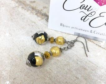 Boucles d'oreilles avec véritables perles de Murano - Or, Noir et Argent
