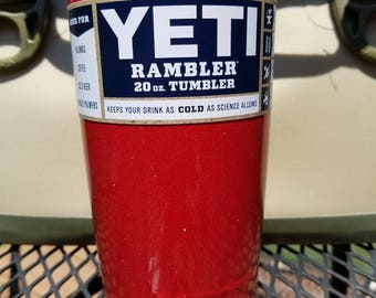 Yeti Rambler 20 oz  Red Glitter Powder Coated