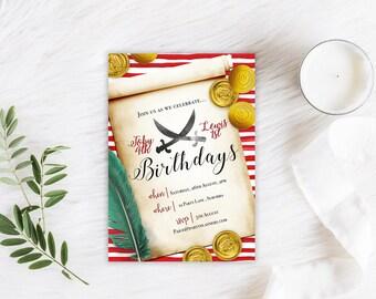 Printable Custom Birthday Party Invitation | Pirate themed | Boy