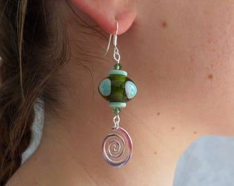 Silver earrings, turquoise green olivine, spirals, modern