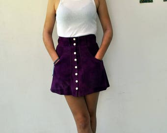 Vintage 60s-70s real suede leather mini skirt in purple, high waist  popper fastened front , size xs-s