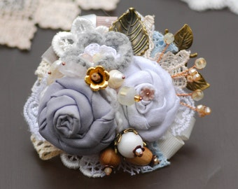 Flower brooch Boho corsage Boho brooch Shabby brooch Boho jewelry Flower brooch Gift for her Women gift Bridal corsage Boho wedding