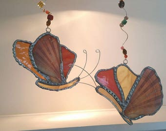 shell, stained glass and driftwood butterfly mobile with glass beads