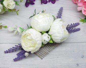 Wedding comb hair Bridesmaid floral comb Bridal boho comb Bride comb hair Flower bride comb Flower boho comb Wedding white clip Flower comb