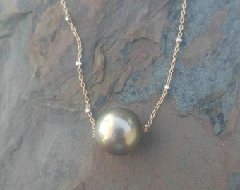 Pastel Tahitian Pearl 11mm Floating Pearl Necklace