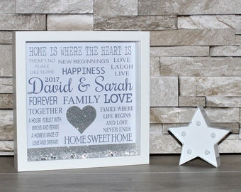 Housewarming Gift, New Home Gift, First Home Gift, New House Gift, Wall Art, Personalised Frame, Personalised, Gift, 3D Box Frame, Glitter,