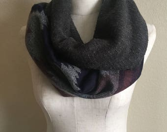 Navajo Grey & Purple Multi Color Infinity Scarf with