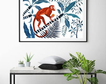 Ginger Monkey & Jungle, large painting, hollywood regency, tropical, palms, mother in law's tongue, wall art, teal, botanical, frangipani,