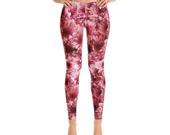 Flower Leggings - Pink Floral Print Yoga Pants, Stretch Pants, Printed Tights, Spring Leggings for Women