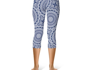 Indigo Blue Capri Leggings - Indigo Leggings, Blue and White Printed Yoga Stretch Pants