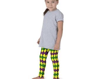 Kids Mardi Gras Costumes, Mardi Gras Leggings for Girls, Children's Purple and Green Yoga Pants, Costumes for Kids