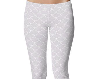 White Mermaid Leggings, White Yoga Pants, Dragon Scales, Mermaid Scales, Fish Scales, White Mermaid Tights, Printed Leggings