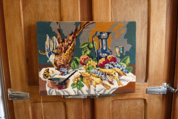 tapisserie canevas motif oiseau table de cuisine ann es 70. Black Bedroom Furniture Sets. Home Design Ideas