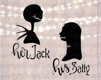 Nightmare Before Christmas Sally and Jack SVG cut file for Cricut