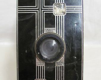 Vintage Art Deco Style Jiffy Kodak Six-16 Folding Camera Parts with Black and Silver Face Plate for Craft Project