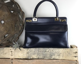 Vintage Unbranded Navy Blue Leather Top Handle Structured Handbag
