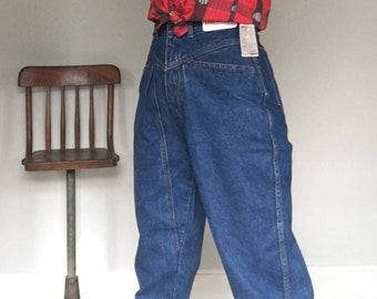 New GASOLINE 80s blue jeans// Dead stock w tags NWT// Baggy mom tapered denim// Women's size small S 4 5 6 usa 26 HW
