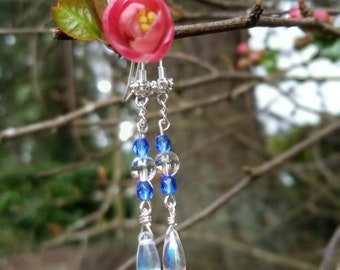 Silver and Sapphire dangle earrings/Swarovski/Handmade earrings