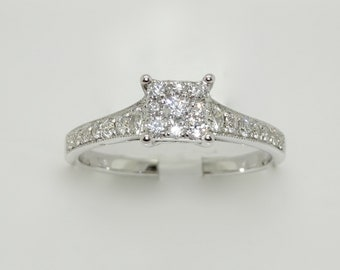 14k White Gold Diamond Pave Cluster Engagement Ring