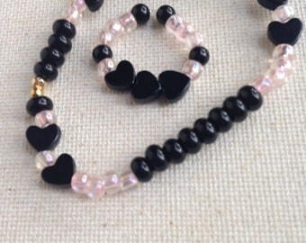 Genuine Onyx Heart Bracelet and Ring Set, Bracelets, Rings, Stretch Jewelry, Pink, Black, Onyx, Hearts, I Love You Gift, Gift for Her