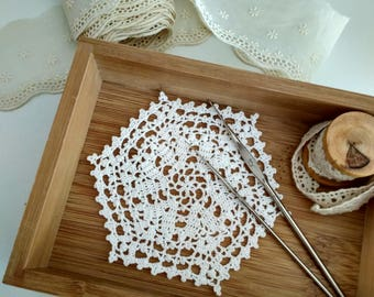 Handmade Crochet Doily, White Round Doily, Handmade Table Decor, Small Doily, White Lace Doily