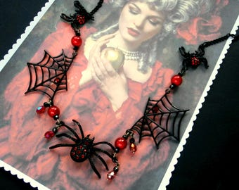 Star spider for Halloween, Gothic necklace