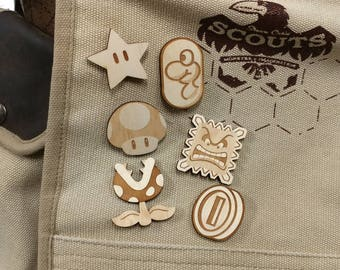 Mario Inspired Laser Etched Wood Pin