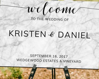 Marble Welcome Sign for Weddings, Bridal Showers, Engagement Parties and Special Events - Printable - Digital Download
