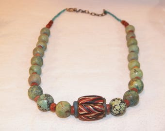 Anceint 1400's-1600's Tribal Bead With Turquoise And Coral On Sterling Silver, Rare Antique African Trade Bead On Hand Made Necklace