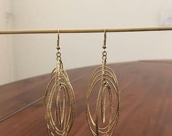 Gold Tone Oval Rings Long Dangle Earrings