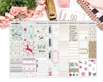 Classic Christmas Planner Stickers / Erin Condren Vertical Weekly Stickers / Full Kit