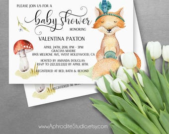 Woodland baby shower invitations - Fox baby shower invitations - Forest animals baby shower invitations - Printable baby shower invitations
