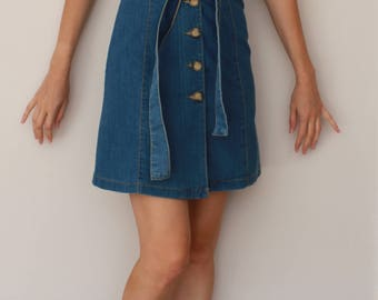 Vintage Denim Dress Size 8 UK 1970