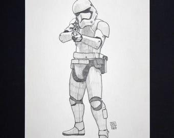 Dessin original crayon scène de cinéma film Star Wars (La Guerre des étoiles) illustration Stormtrooper