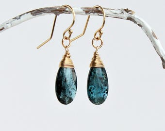 Moss Kyanite Earrings & Gold fill, Teal Kyanite Drops, Blue Green Kyanite Jewelry, Moss Kyanite, Royal Moss Kyanite Earrings, Gift for Her