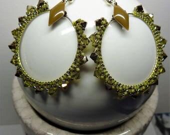Seed beads and Swarovski earrings / / khaki