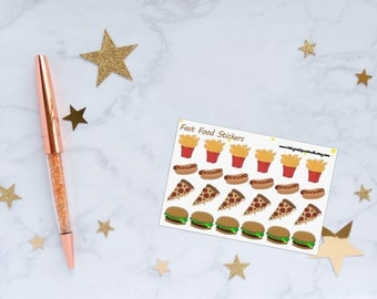 Fast Food Planner Stickers, Fries/Chips Stickers, Hot Dog Stickers, Pizza Stickers, Hamburger Stickers, Vinyl Stickers