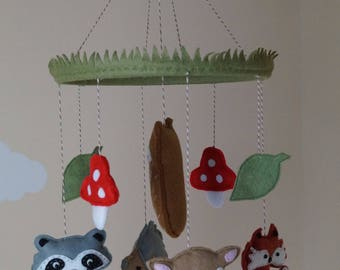 woodland animals unisex baby mobile made to order