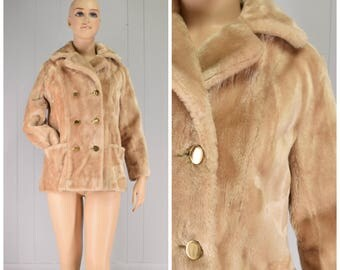 Vintage Womens 1970s Sears Fashions Champagne Colored Double Breasted Faux Fur Coat | Size M