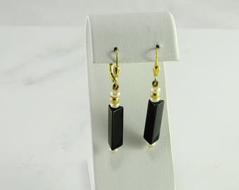 14K Onyx Dangle Pierced Earrings