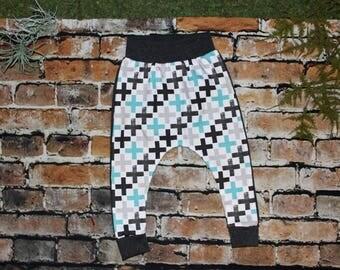 Criss Cross Harem Pants, Black and White Harem Pants, Hammer pants, Baby harem pants, Toddler harem pants, Baby joggers, toddler joggers