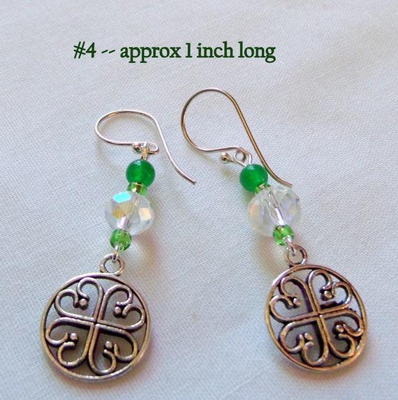 Shamrock earrings - green Irish inspired jewelry - St Patrick's day - clover earrings - good luck - Celtic knot - 4 choices - Kleeblatt gift