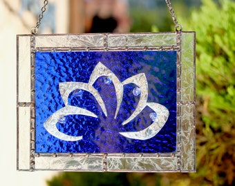 Blue Glass and Silver Lotus Flower Window Hanging
